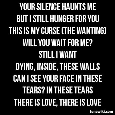 Lyric Art of My Curse by Killswitch Engage........I'm not crying any more.....its obvious I'm nothing then shit.....seeing it was all a game n.not once did she have to act, once she decided her coward was all she wanted.......amazing how some just love the wrong ppl to much, n those of us were meet our soul mate, just gotta walk away.......