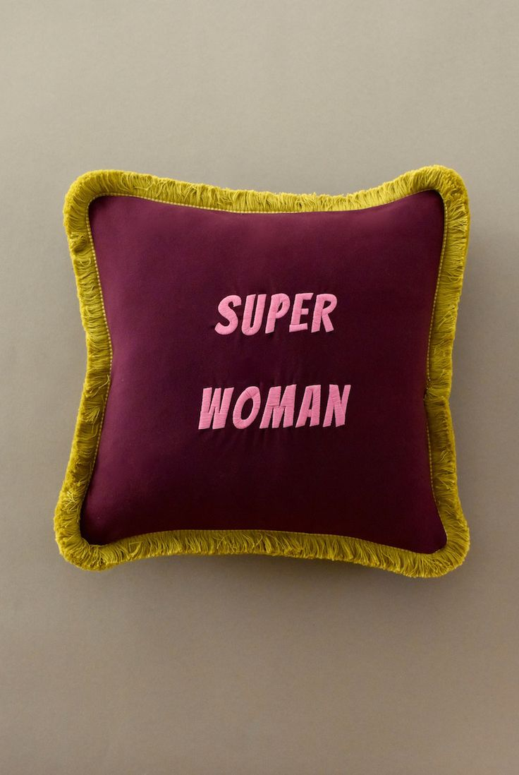 #superwoman embroidered cushion with fringes