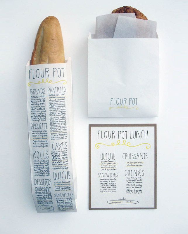 Designed by Sara Nicely from San Francisco, the Flour Pot Bakery Pot strives for a healthy diet with high quality, natural ingredients and environmentally friendly practices. The bakerys interior space is inviting and warm with natural lighting and eclectic funky displays advertising baked goods. This identity system was designed to convey the unique and handmade qualities of the bakery. The hand-drawn type was inspired by the wiry Christmas lights arranged throughout the dining area. I…