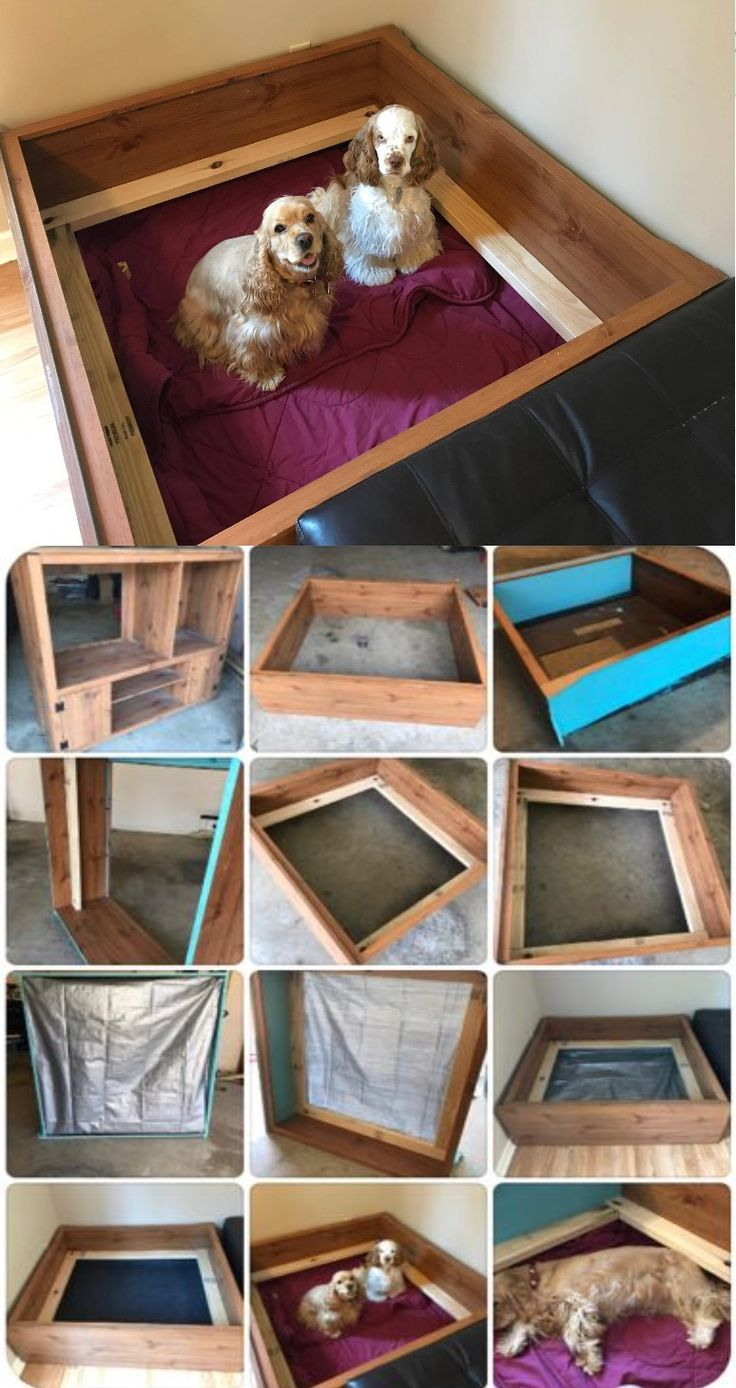 Our homemade whelping box.  Materials: Old TV stand, 2 - 2x4's, screws, small tarp, staples, whelping mat, blanket.   Remove all inside boards and hardware.  Measure, cut and drill in the 2x4's 4.5.  We put ours 4.5 inches from the floor.  Staple tarp just under the wood rail (to keep any mess contained and off our floors).  Add whelping mat and blanket (optional) & Voila!!  Easy to make and inexpensive whelping box.