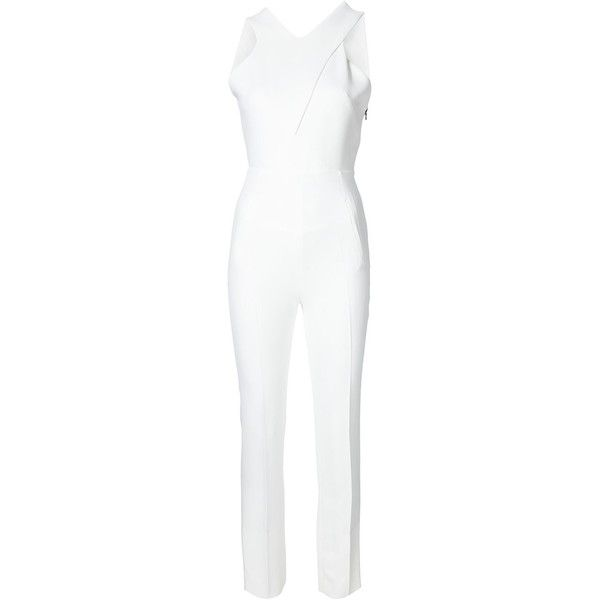 Roland Mouret Saxby Jumpsuit (3,465 CAD) ❤ liked on Polyvore featuring jumpsuits, white, jump suit, roland mouret, white jumpsuit and white jump suit
