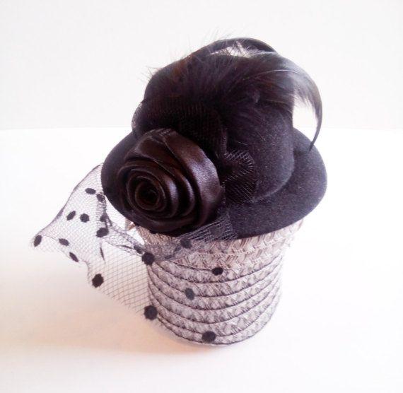 Mini black chic fascinator headpiece hair jewelry by mademeathens