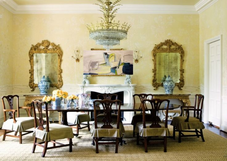 Formal Dining Room Chippendale Chair Gilded Mirrors Elegant Home Decor
