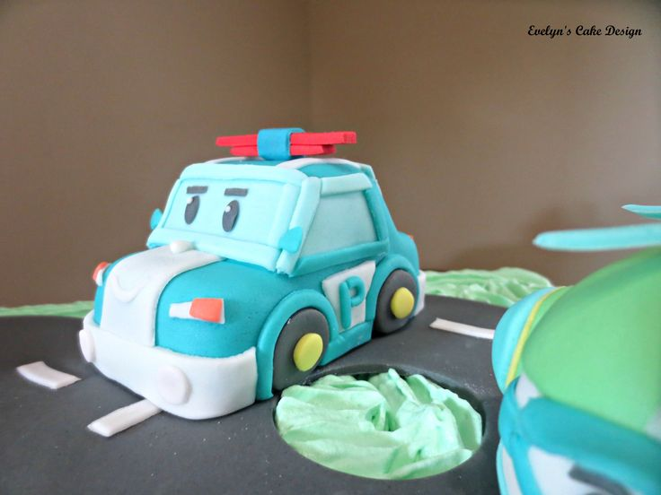 Robocar Poli on the birthday cake