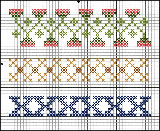 """16th Century Germanic cross stitch border patterns! They're from a sampler described as """"...probably German, appears to be a sampler for church linen; the motifs are in the style of the earliest group of pattern-books, about 1523-40"""" (King)."""