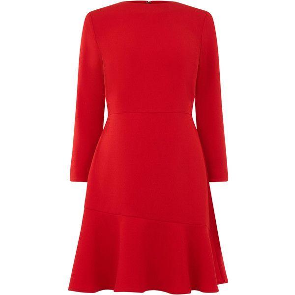 PEPLUM HEM LONG SLEEVE DRESS (265 PEN) ❤ liked on Polyvore featuring dresses, long sleeve dress, red long sleeve dress, red peplum dress, longsleeve dress and long sleeve peplum dress