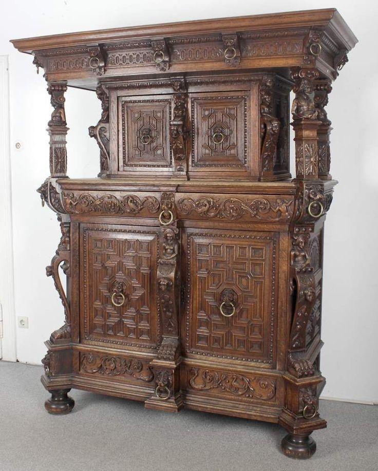 b ffet im stil der renaissance frankreich um 1850 80 reich dekorierter kabinettschrank aus. Black Bedroom Furniture Sets. Home Design Ideas
