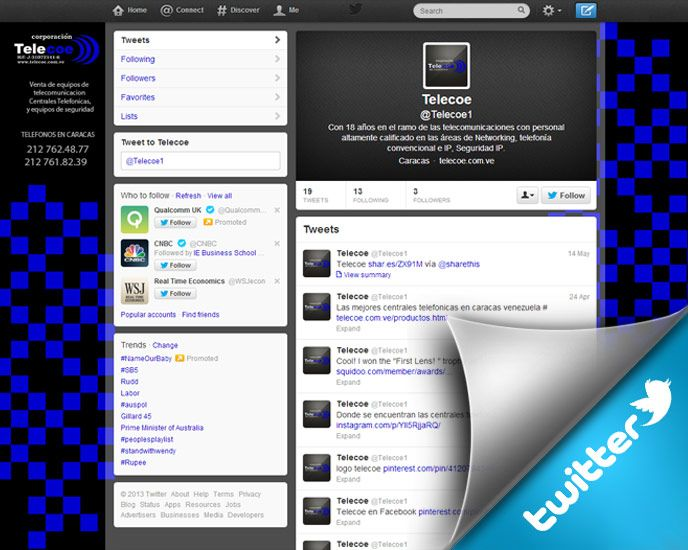 Twitter Account for Corporacion Telecoe de Venezuela
