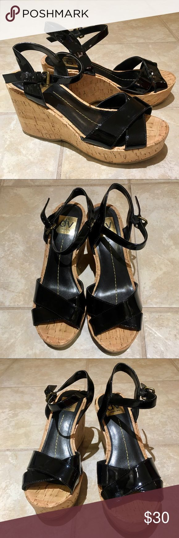 """Dolce Vita Black Platform Wedge Cork Sandals 6 Dolce Vita Black Platform Wedge Cork Sandals size 6. 1.25"""" Platform, 3.5"""" heel. They are in excellent condition! Dolce Vita Shoes Wedges"""