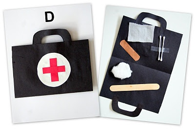 Doctor kit. Adorable and since it's glued to the paper the kids can't make a mess/lose parts!