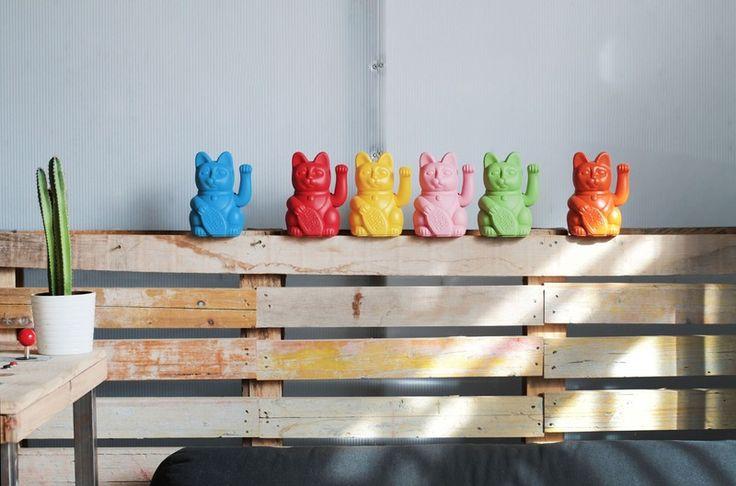 Objetos de decoración - LUCKY GATETE limón / gato de la suerte - hecho a mano por currorubira en DaWanda