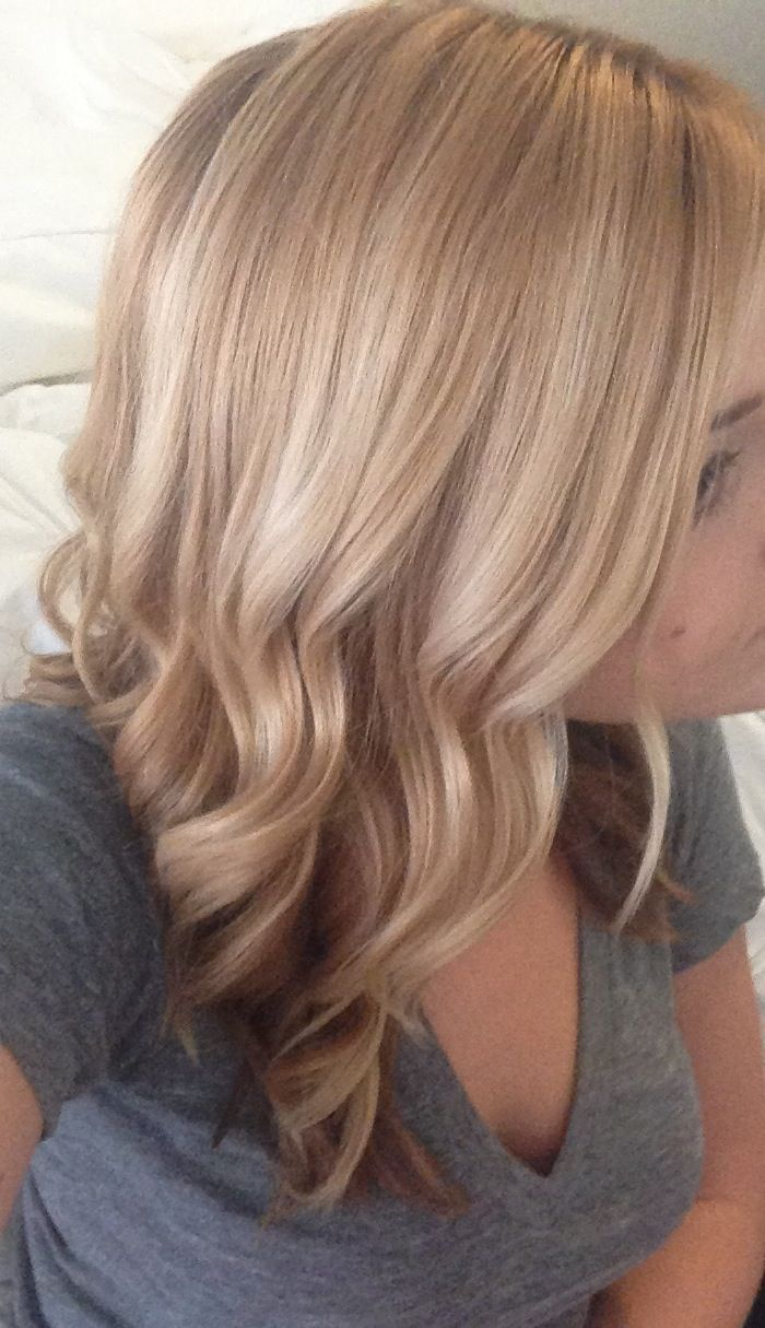 Wave Medium Length Hair Blonde Gold Color Goldwell
