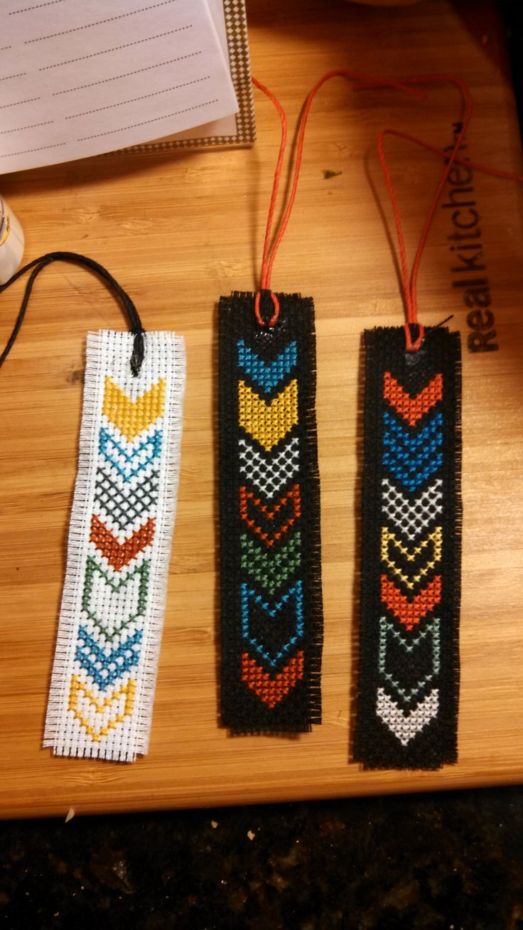 Cross stitch book marks, Chevron pattern.