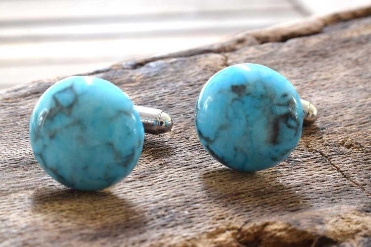Blue Howlite Cufflinks, Gemstone Cufflinks, Silver Plated, Blue Cufflinks, Howlite, Wedding Gift, Birthday Gift, Anniversary Gift
