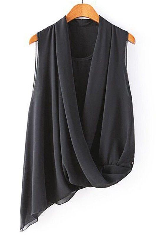 Black Irregular Sleeveless Chiffon Blouse