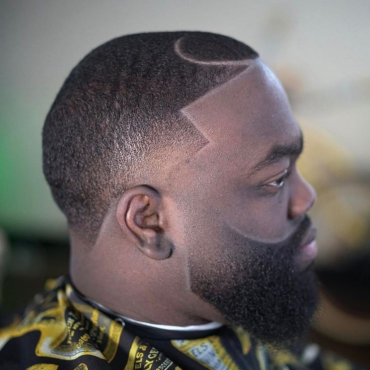 Temple Fade Haircut With Faded Beard for black men