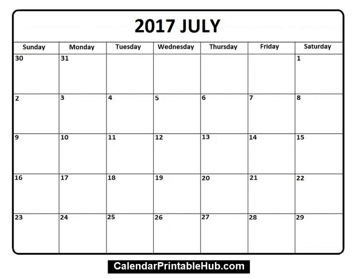 37 best July 2017 Calendar images on Pinterest Printable - free printable blank calendar