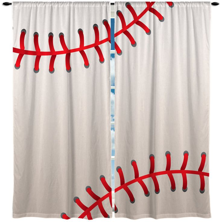 Attractive Baseball Stitched Design Theme Window Curtain U2013 TheDezineShop
