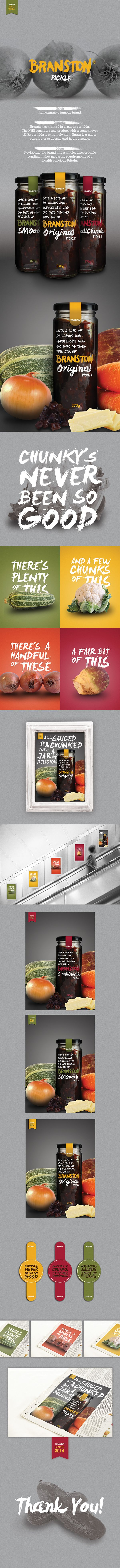 Love the visual descriptions of what is in the pickle - DesignBridge 2014 Branston Pickle on Behance