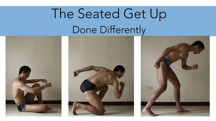 """This seated get up is a """"legs only"""" standing up from seated exercise. The video includes tips for keeping the knee safe and also shows how to use your hands to help as you work towards doing it without using your hands."""