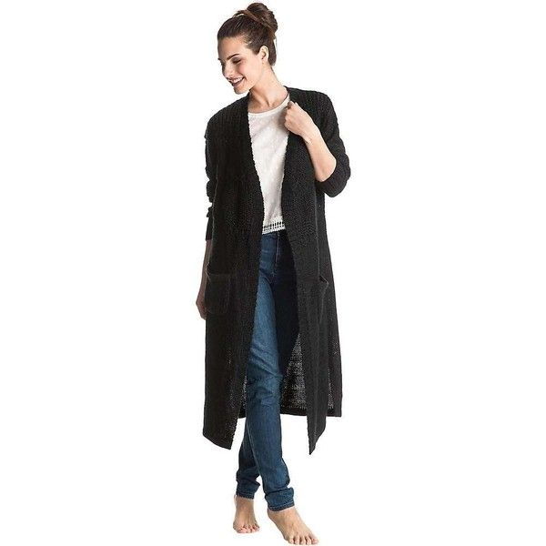 Roxy Women's All This Is That Cardigan ($63) ❤ liked on Polyvore featuring tops, cardigans, true black, side slit top, roxy cardigan, long cardigans, cardigan top and roxy tops