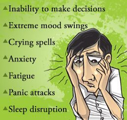 Common signs and symptoms of a nervous- or mental breakdown