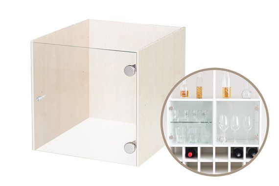 Glass Cabinet insert for IKEA Kallax shelf / Birch without shelf
