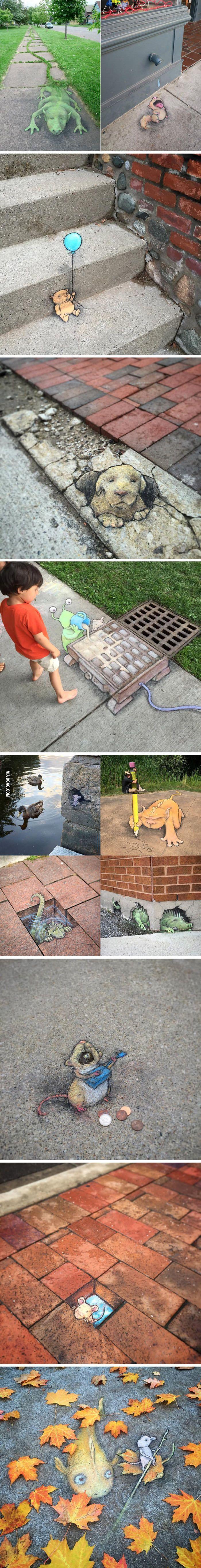 Adorable sidewalk art pops up in Ann Arbor - 9GAG