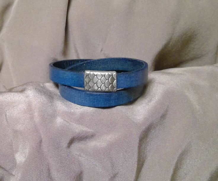 Blue Leather Double Wrap Bracelet with Magnetic Clasp by BrandedCreed on Etsy