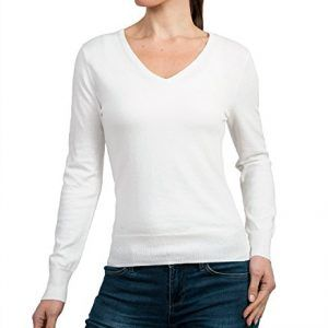 Wool Overs Women's Silk & Cotton Vee Jumper Natural White Small