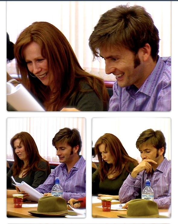 David Tennant and Catherine Tate < I always loving watching the actors during read throughs. They have to act the part when they shoot the episodes, but to see them react as themselves to the material is always great insight :) << previous pinner