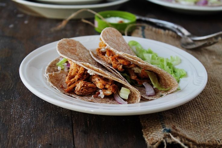 Shredded Buffalo Chicken Tacos. These are delicious and easy to make! Eating just one of these filled me up! Will be making these again!