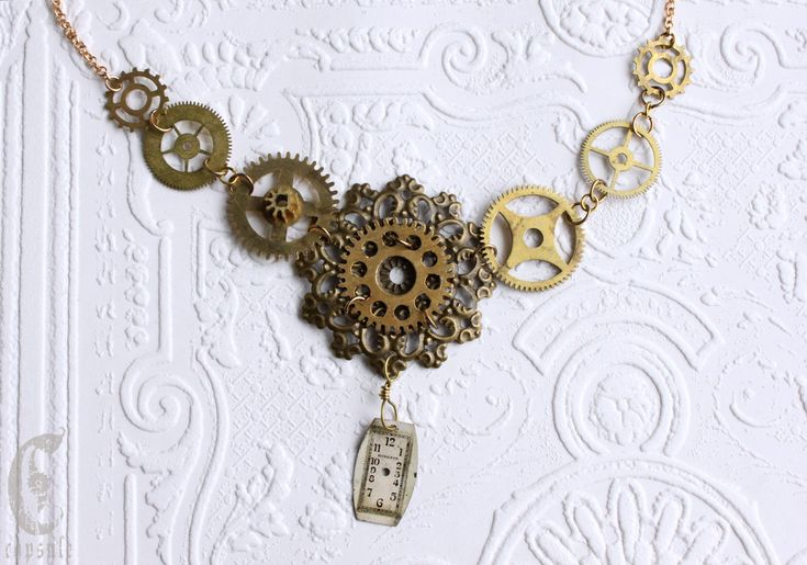 Steampunk Necklace with Antique Clock and watch Brass Cogs - Gears - Dial and Bronze Rosette Flower Filigree by CapsuleCreations on Etsy