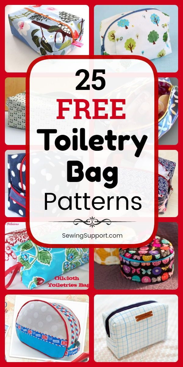 Bag DIY: 25 Free Toiletry Bag Patterns, diy projects, and sewing tutorials. Zipp…
