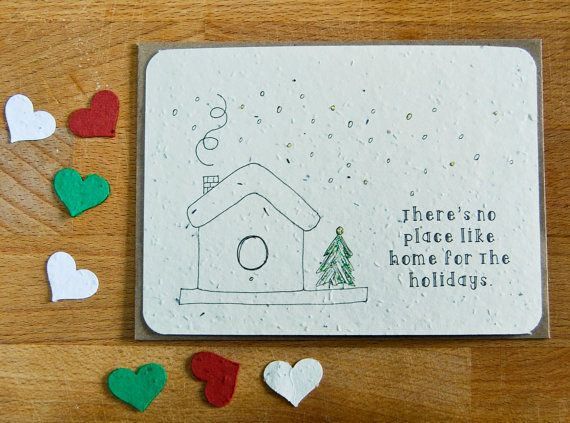 Plantable Seed Paper Christmas Holiday Greeting Card, There's No Place Like Home for the Holidays