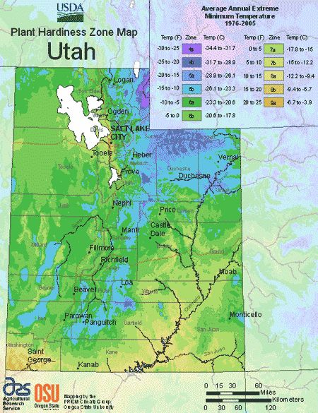 This is the USDA Utah planting zone map. You can look at this map to learn the Utah climate zones and which one you live in. In order to find your USDA planting zone, simply look at the map and locate where you live. Then, match the color of that location to the legend to the right.