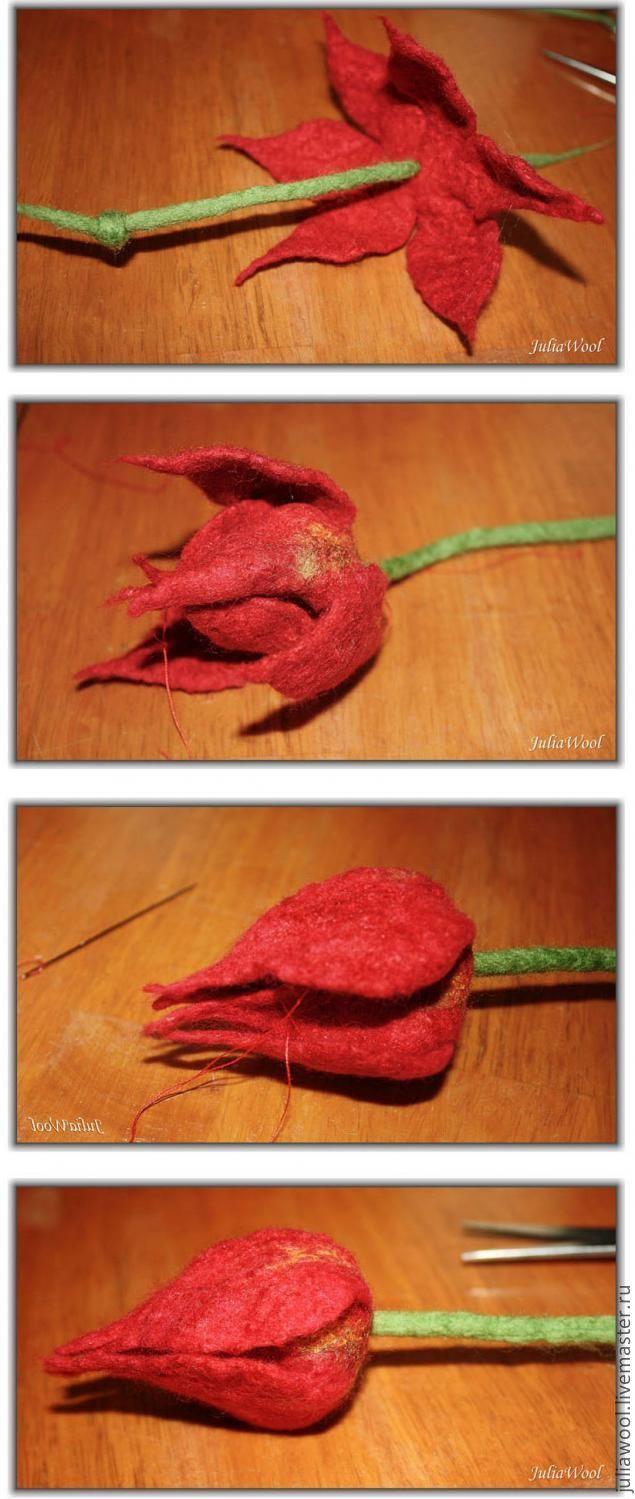 """МК """"Как свалять тюльпан"""" - Ярмарка Мастеров - ручная работа, handmade"""