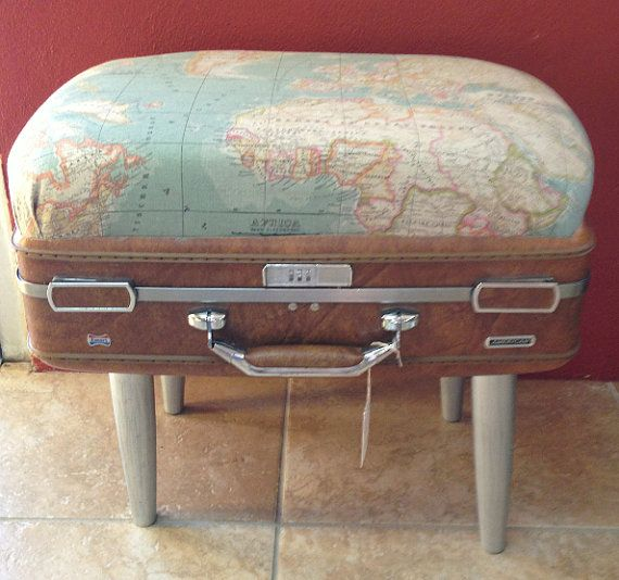 re-purposed vintage suitcase stool with world map fabric