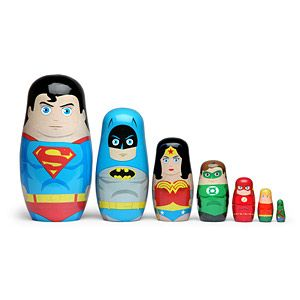 Set of 7 Matryoshka (Russian nesting dolls) superheroes include the original 7 members of the JLA: Superman, Batman, Wonder Woman, Green Lantern, The Flash, Aquaman, and Martian Manhunter.