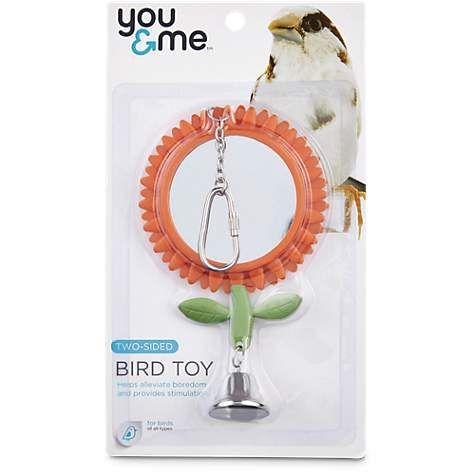You Me Two Sided Flower Mirror Bird Toy Medium Bird Toys Flower Mirror Parakeet Toys