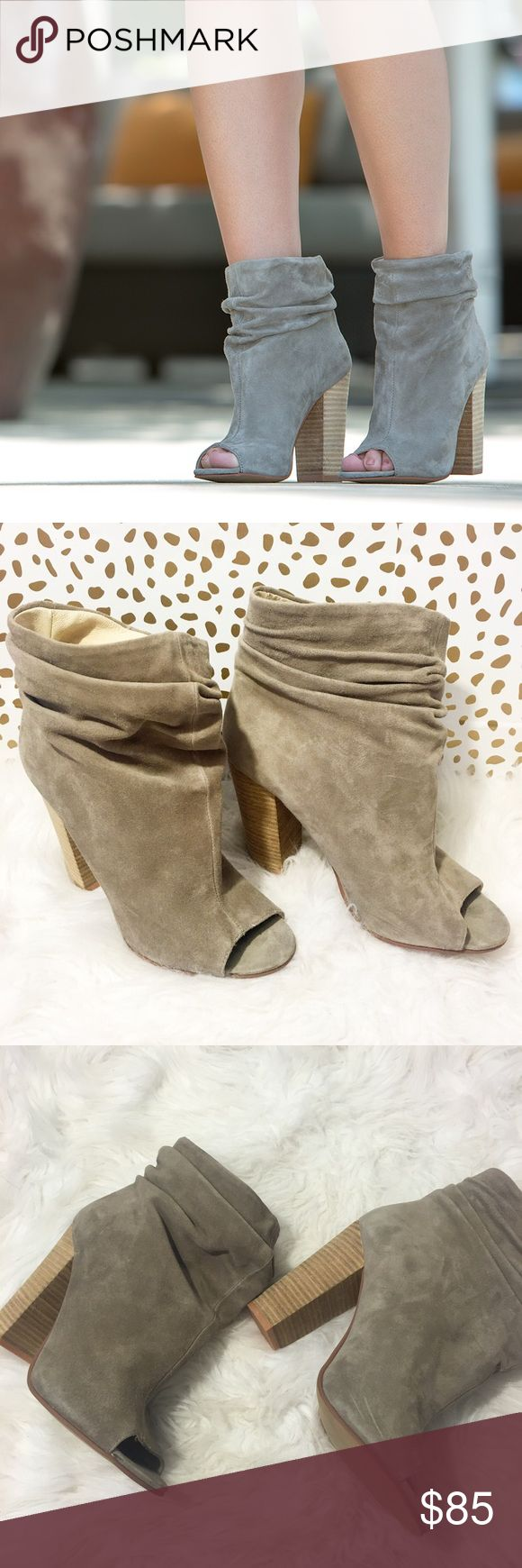 Chinese Laundry Kristin Cavallari Peep Toe Booties SO cute and perfectly on trend! Perfect for fall! Brand new and never worn. Size 9. Grey suede. Pull on. No trades!! 07131720hh Chinese Laundry Shoes Ankle Boots & Booties