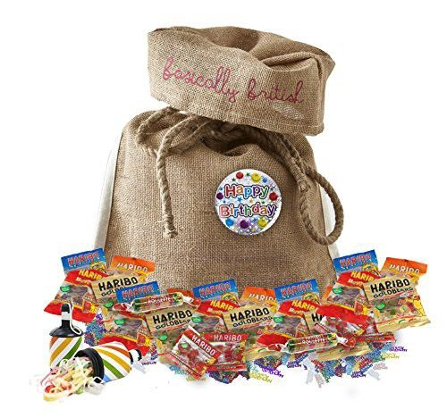 Haribo Gift Variety Birthday Pack by The Yummy Palette | Haribo Tangfastics Haribo Starmix Haribo Gold Bears Haribo Super Mix in Basically British Burlap Bag with Birthday badge and confetti