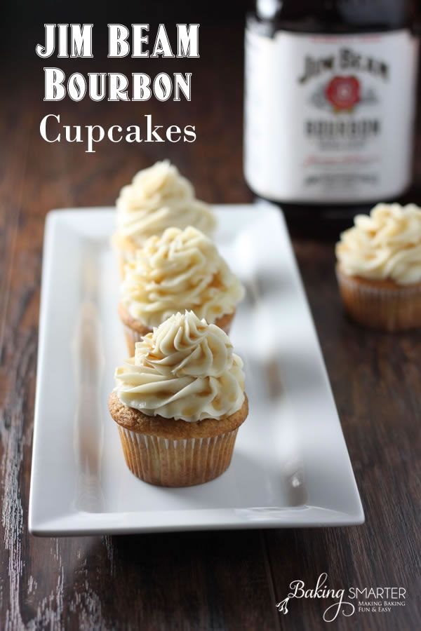 It was our friend's birthday, and he loves Jim Beam bourbon, so we bought him a bottle and I thought it would be fun to make him some bourbon cupcakes. I tried a couple versions of a recipe and finally arrived at what I thought was the yummiest Jim Beam cupcakes and bourbon buttercream frosting with a maple syrup drizzle.