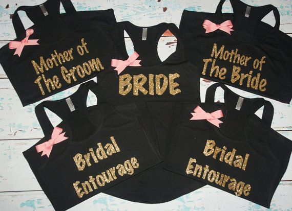♥ Make your Bridal Party Tanks as unique as you are with the tank that they will actually wear again. ♥    This Listing is for 6 tanks with:  2