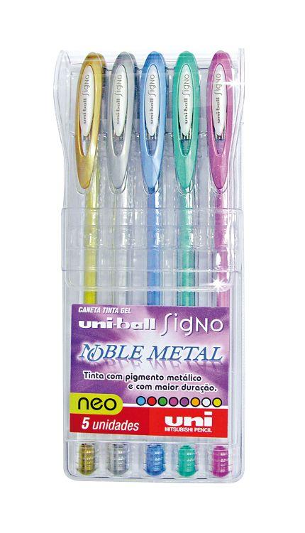 Estojo Caneta Gel Uniball Signo Noble Metal Com 5 Cores