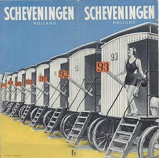 Scheveningen, 1935 - Holland, Netherlands row of beach cabin, vintage  travel poster.