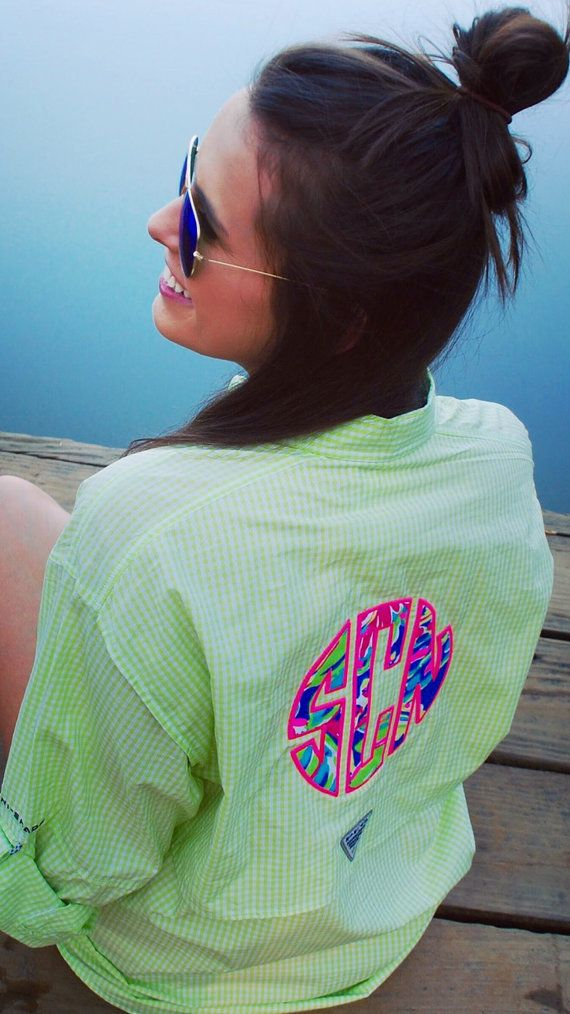 Preppy Lilly Pulitzer Monogrammed Gingham by TantrumEmbroidery