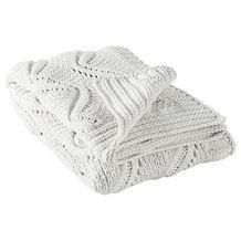 Chunky Cable Knit Throw - Cream