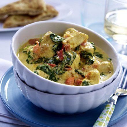 Veganisierbares Hähnchen-Kokos-Curry mit Spinat Rezept
