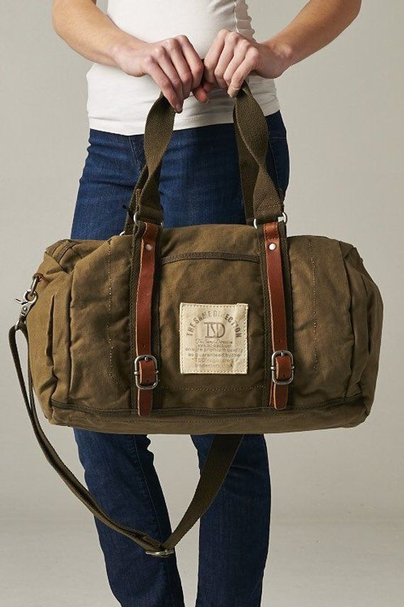 Items similar to Canvas Genuine Leather Straps Duffle Bag Carry On Luggage  Diaper Beach Gym Women Men Brown Tan on Etsy 661321f6e4